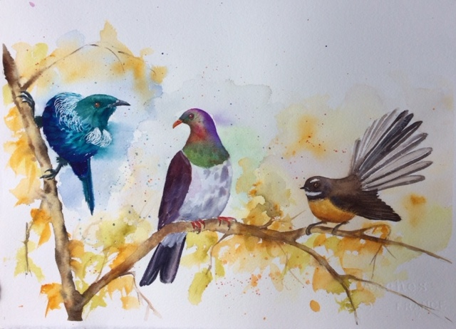 Tui, Wood Pigeon and Fantail